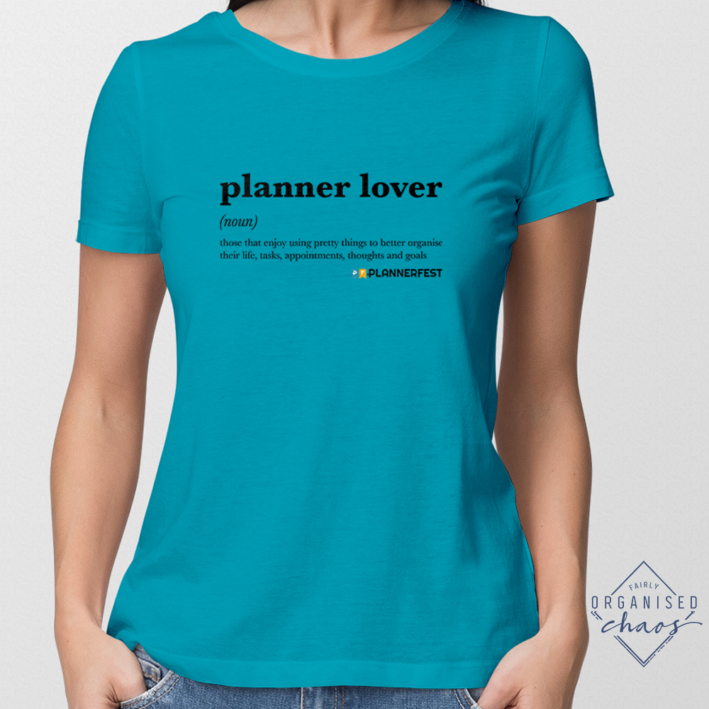 Exclusive PLANNERFEST Planner Lover Turquoise Feminine Fit T-Shirt
