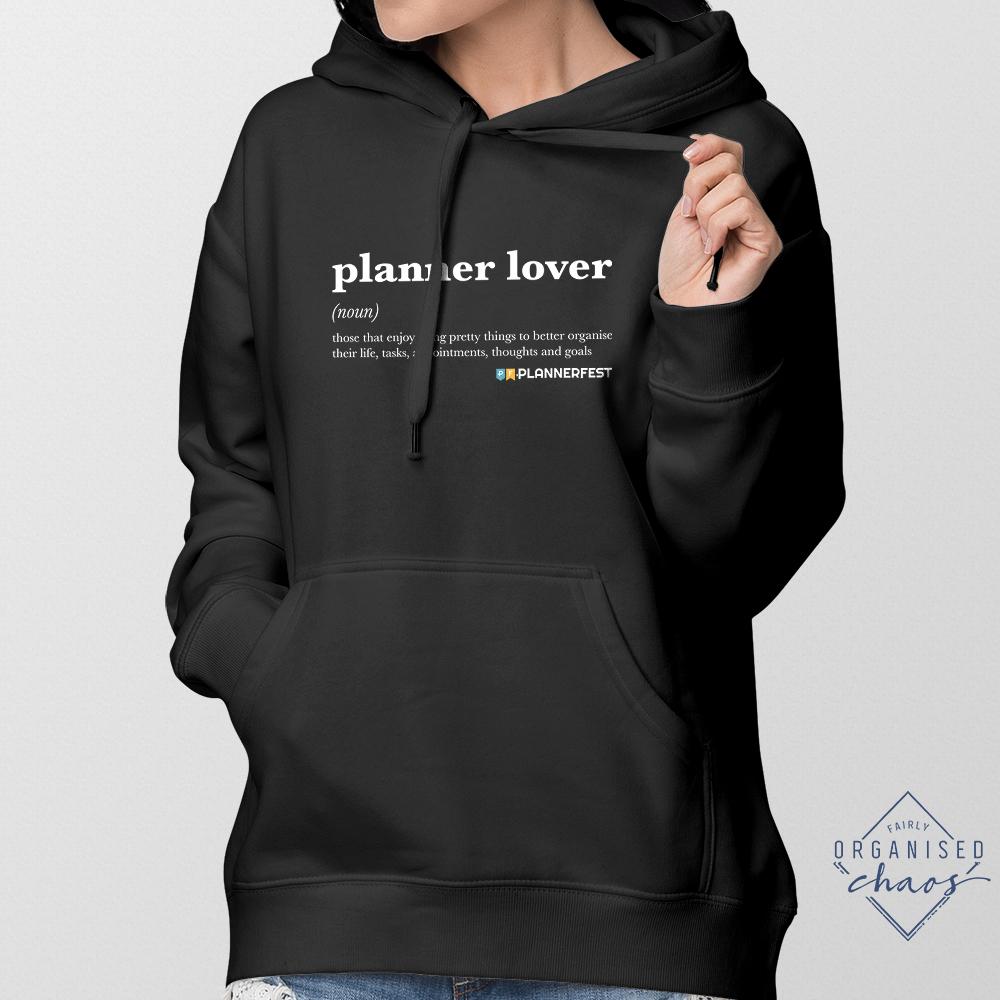 Exclusive PLANNERFEST Planner Lover Black Unisex Hoodie
