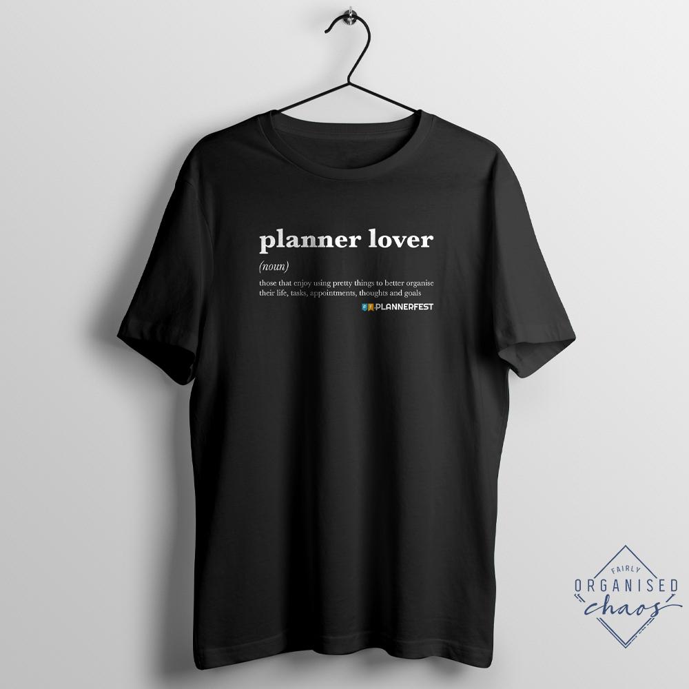 Exclusive PLANNERFEST Planner Lover Black Unisex Fit T-Shirt