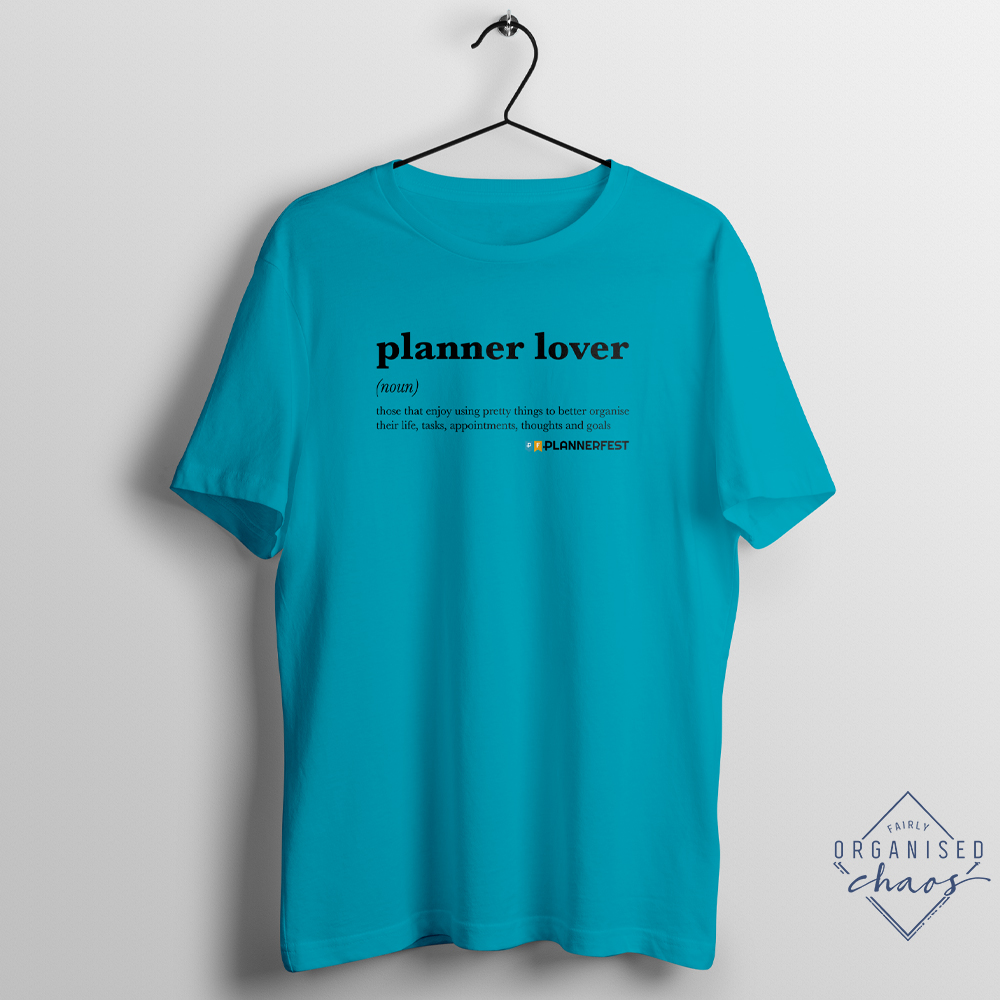 Exclusive PLANNERFEST Planner Lover Turquoise Unisex Fit T-Shirt