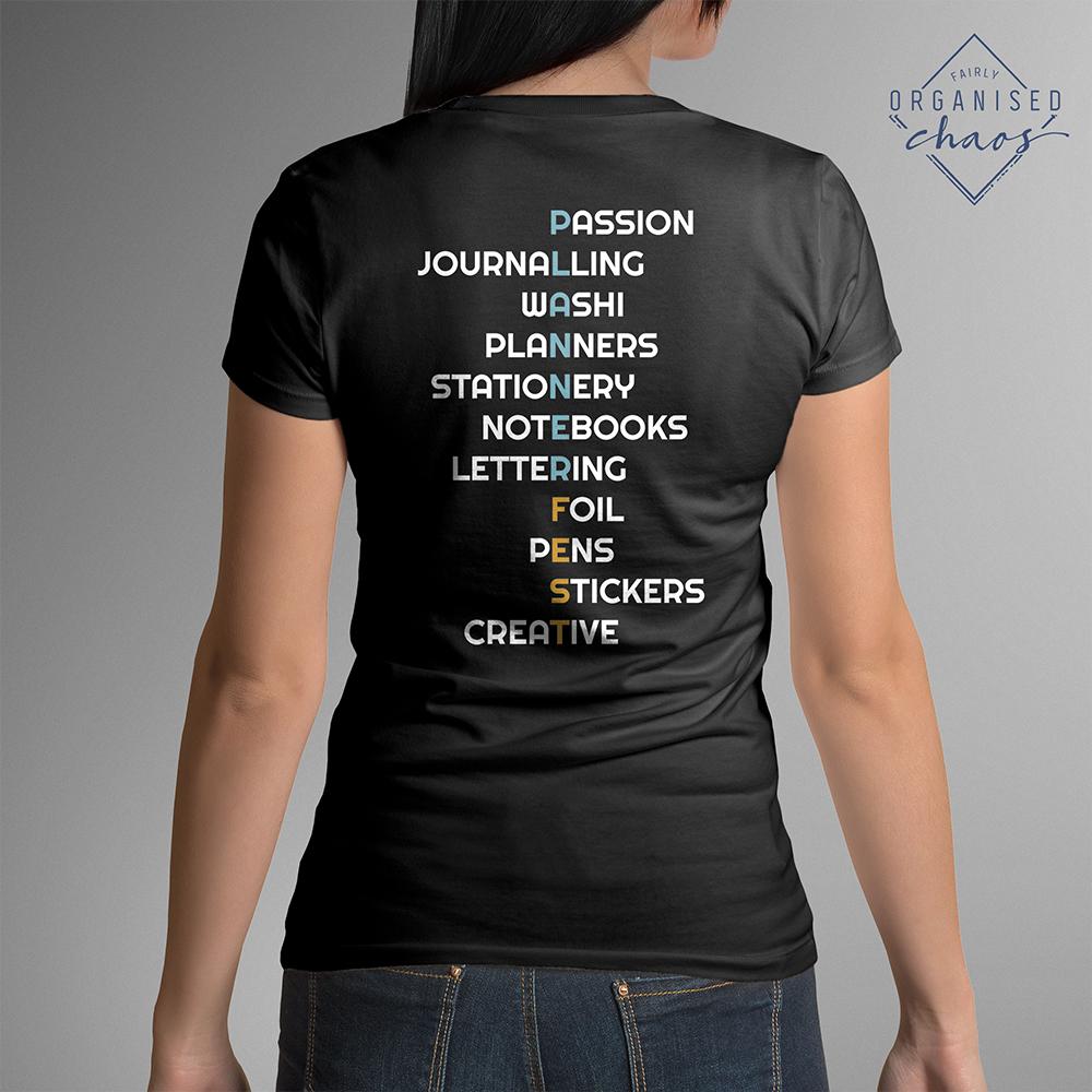 Exclusive PLANNERFEST Planner Passions Black Feminine Fit T-Shirt